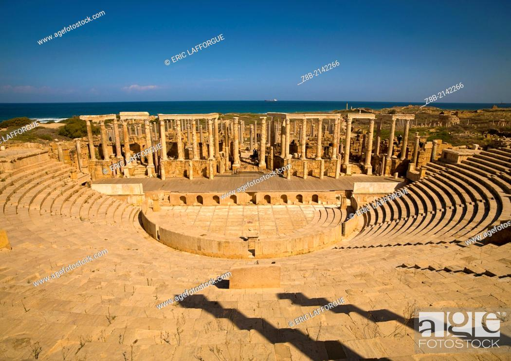 Stock Photo: KHOMS, LIBYA - APRIL 03: Leptis Magna was a prominent city of the Roman Empire, its ruins are located in Khoms, east of Tripoli.