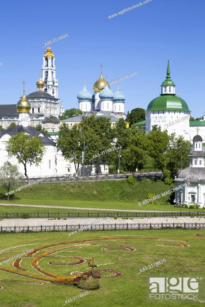 Stock Photo: Bird Made of Flowers (foreground), The Holy Trinity Saint Serguis Lavra, UNESCO World Heritage Site, Sergiev Posad, Golden Ring, Russia.