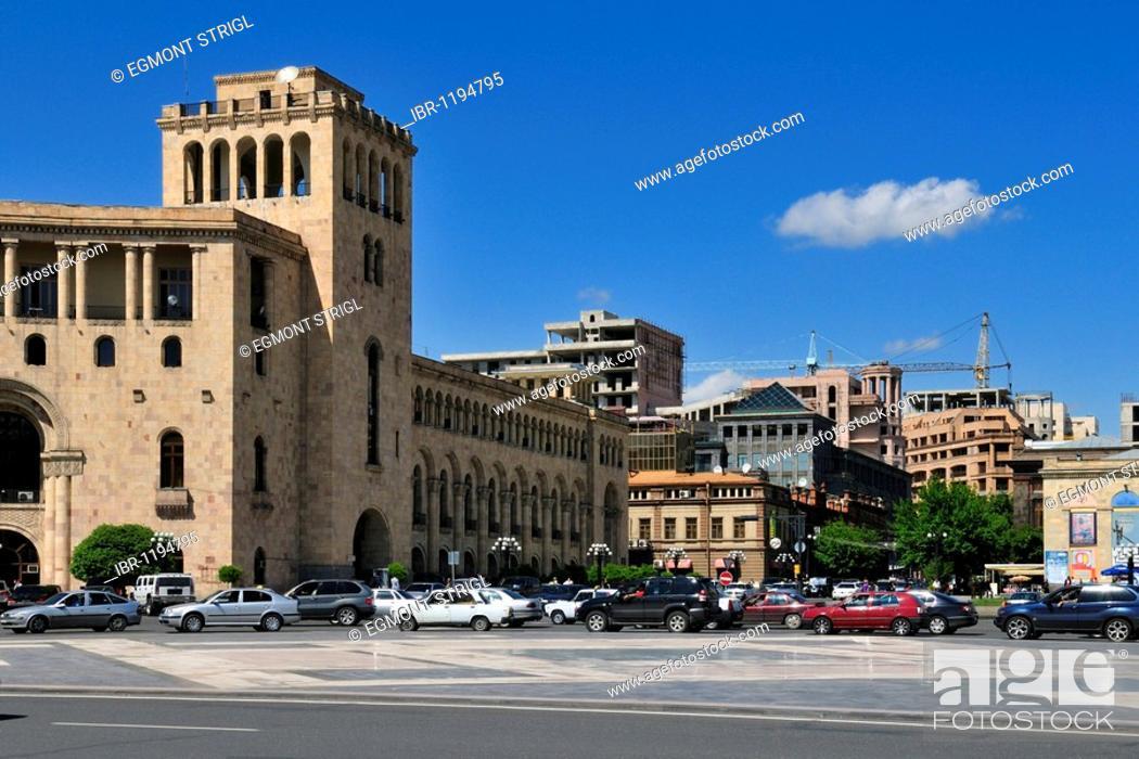 Stock Photo: Public building, Republic Square, downtown Yerevan, Jerewan, Armenia, Asia.