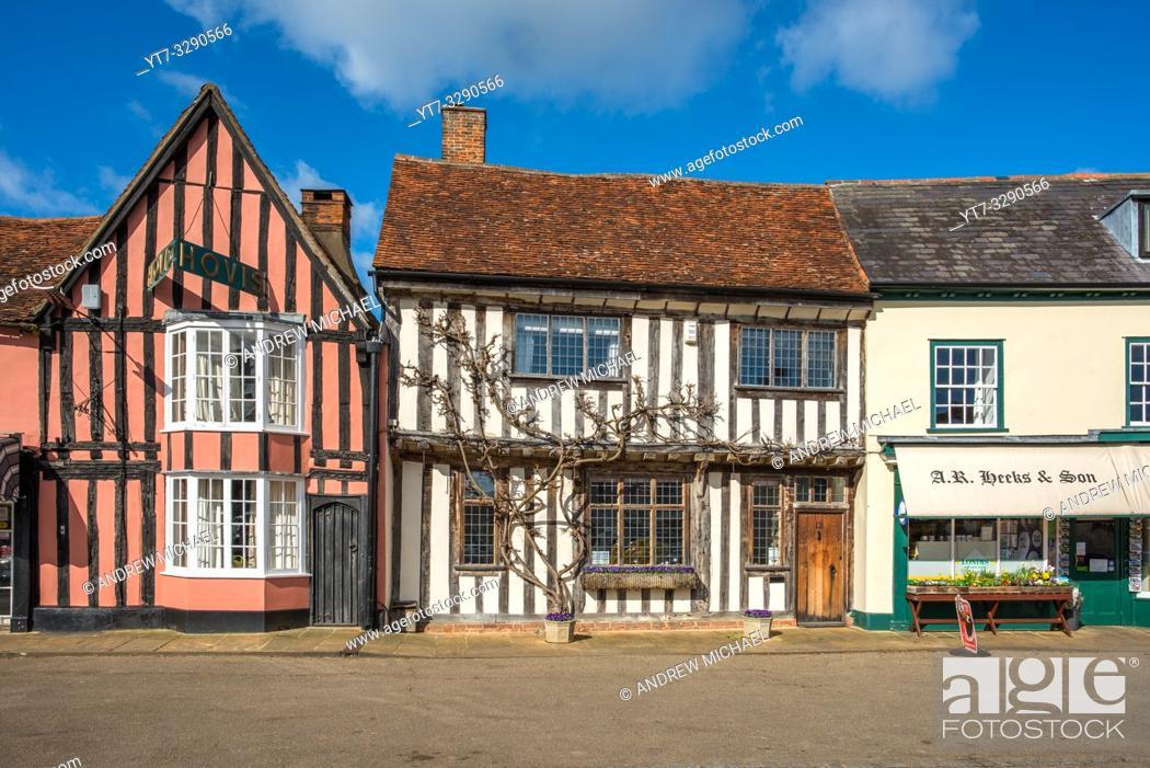 Photo de stock: Picturesque local shops on the Market Square Lavenham Suffolk England UK.