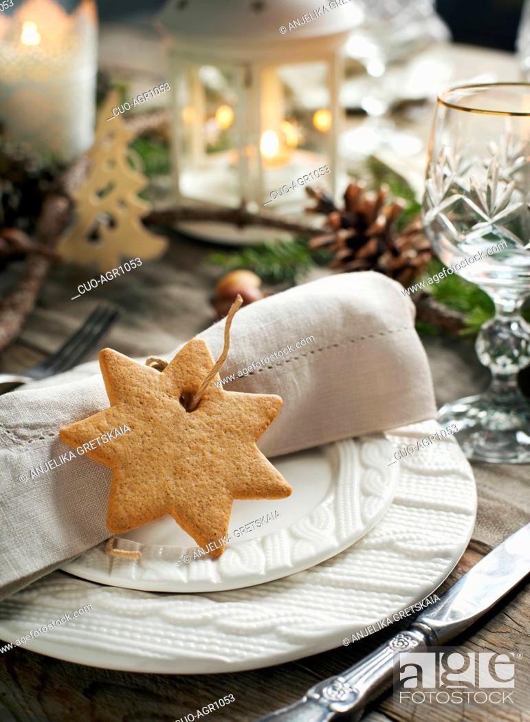 Stock Photo: Christmas table setting. Holiday Decorations.