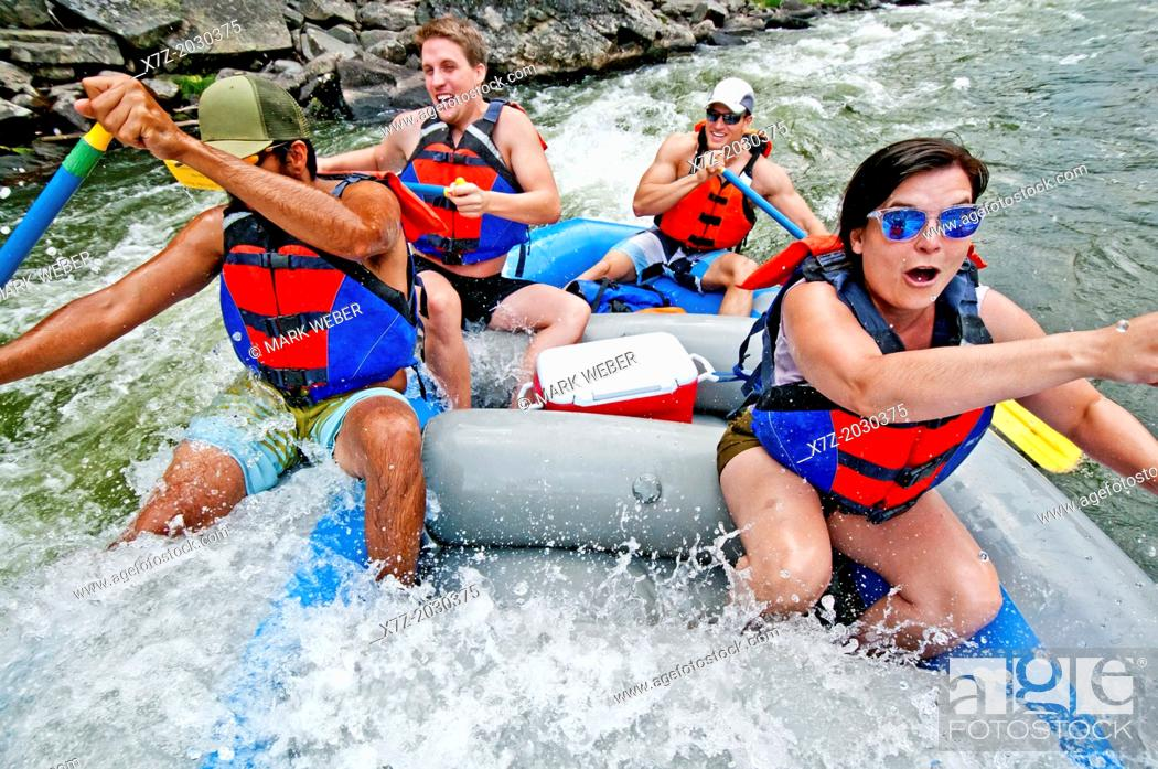 Stock Photo: whitewater rafting the Cabarton section on the North Fork of the Payette River which is rated Class 3 and located near the city of Cascade in central Idaho.