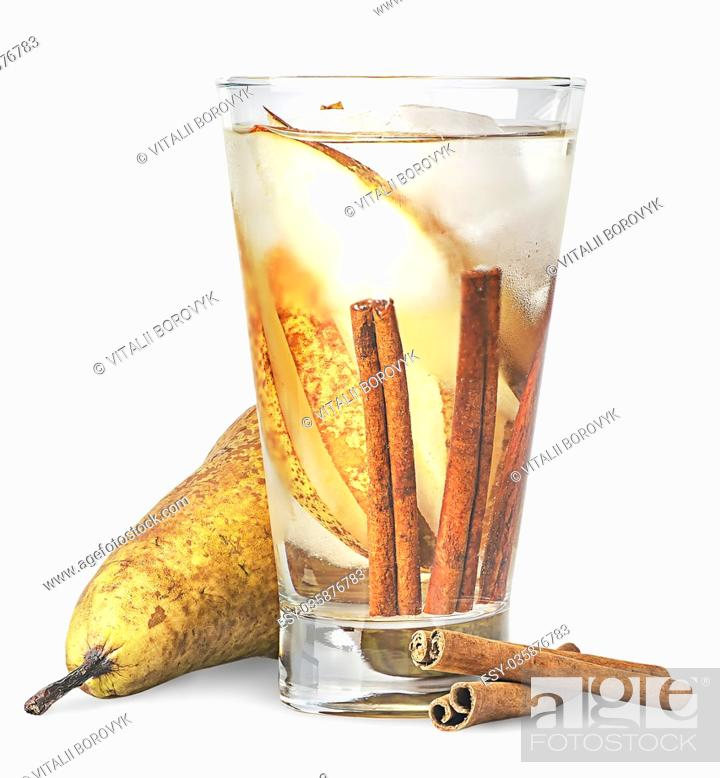 Stock Photo: Pear and cinnamon in sweaty glass of lemonade isolated on white background.