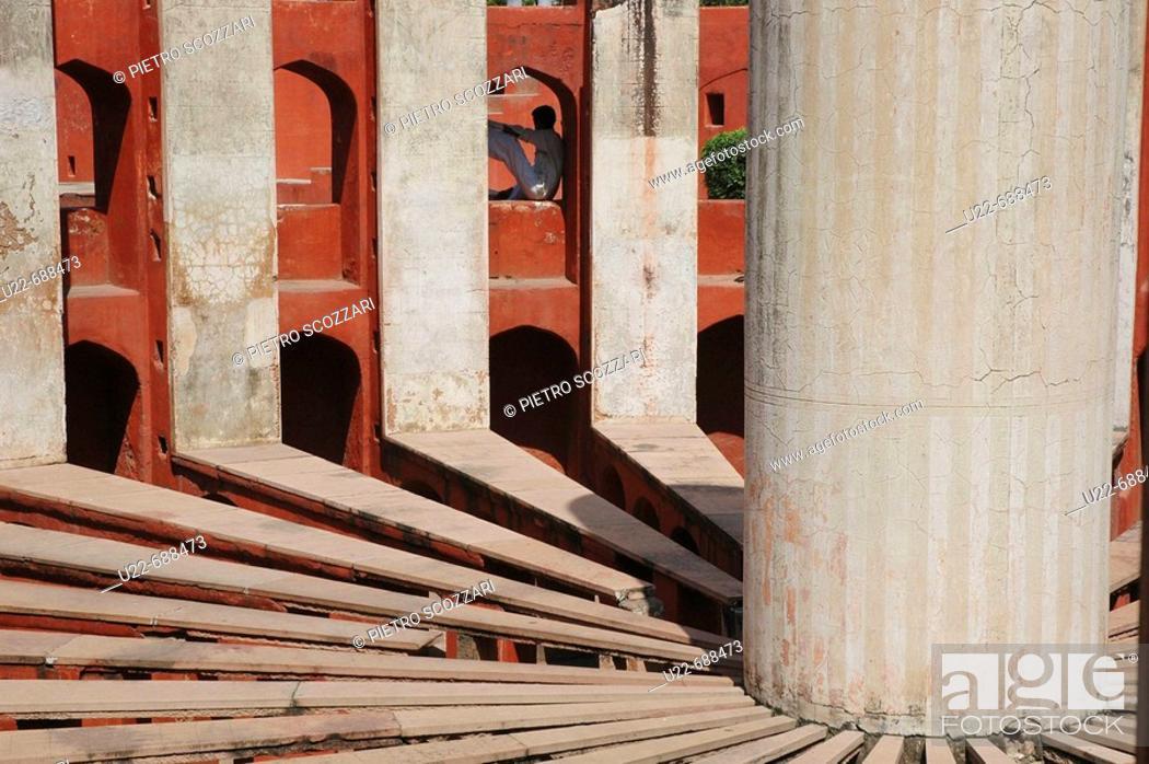 Stock Photo: Delhi, India: the Jantar Mantar observatory.