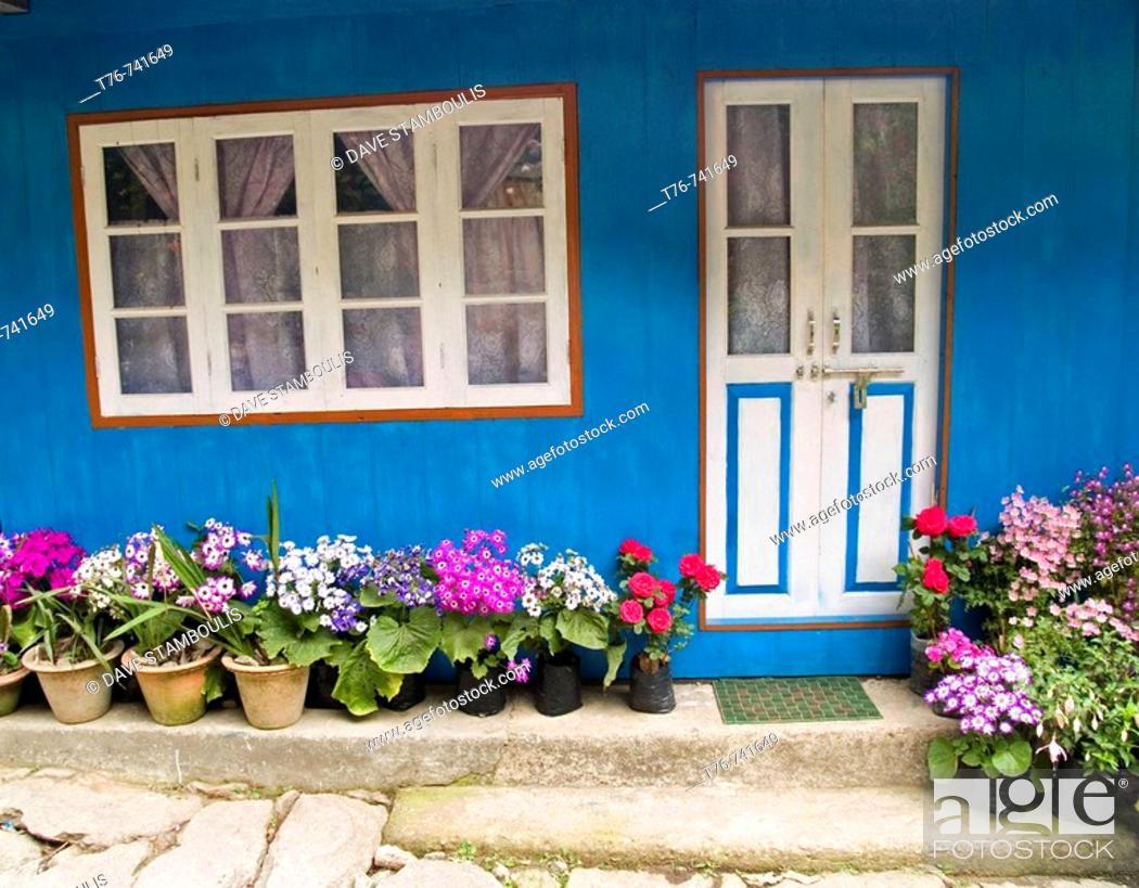 Stock Photo: colorful Nepali home on the Singalila Ridge along the Nepal India border.