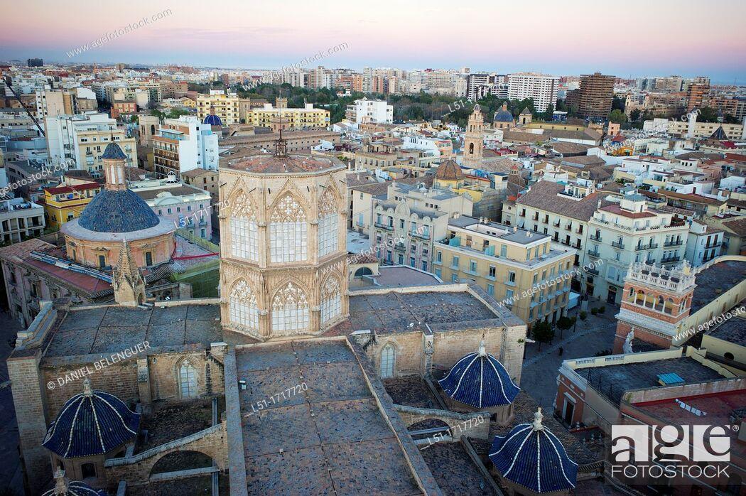 Stock Photo: Valencia city from El Miguelete tower, Valencia, city, Valencia, Spain.