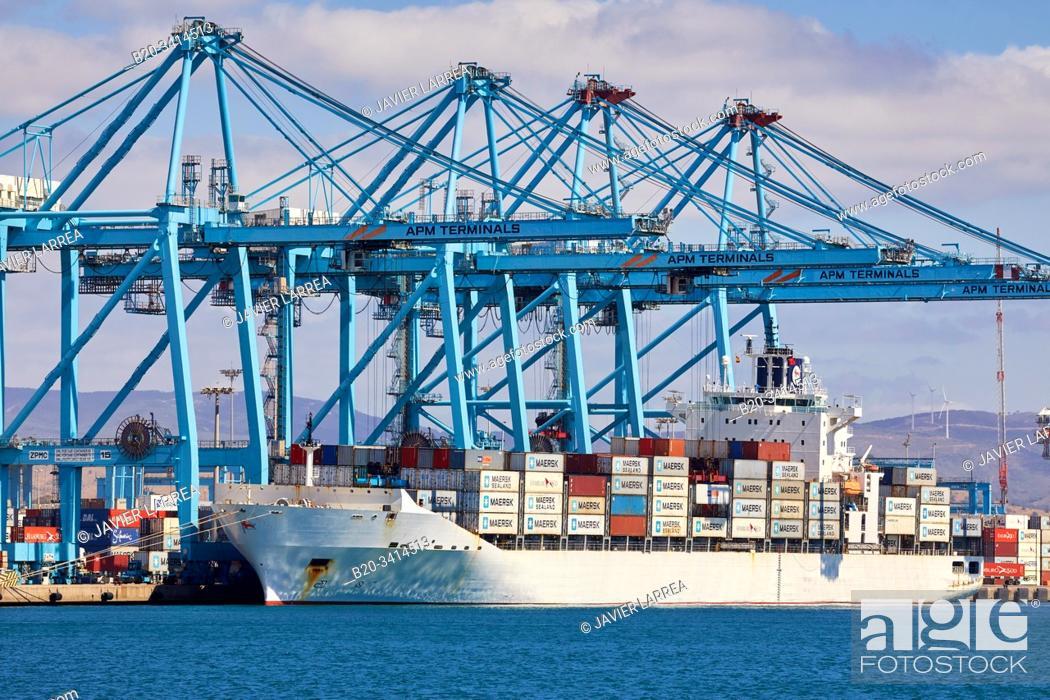Stock Photo: Container ship, Commercial Port of Algeciras, Cádiz, Andalucia, Spain, Europe.