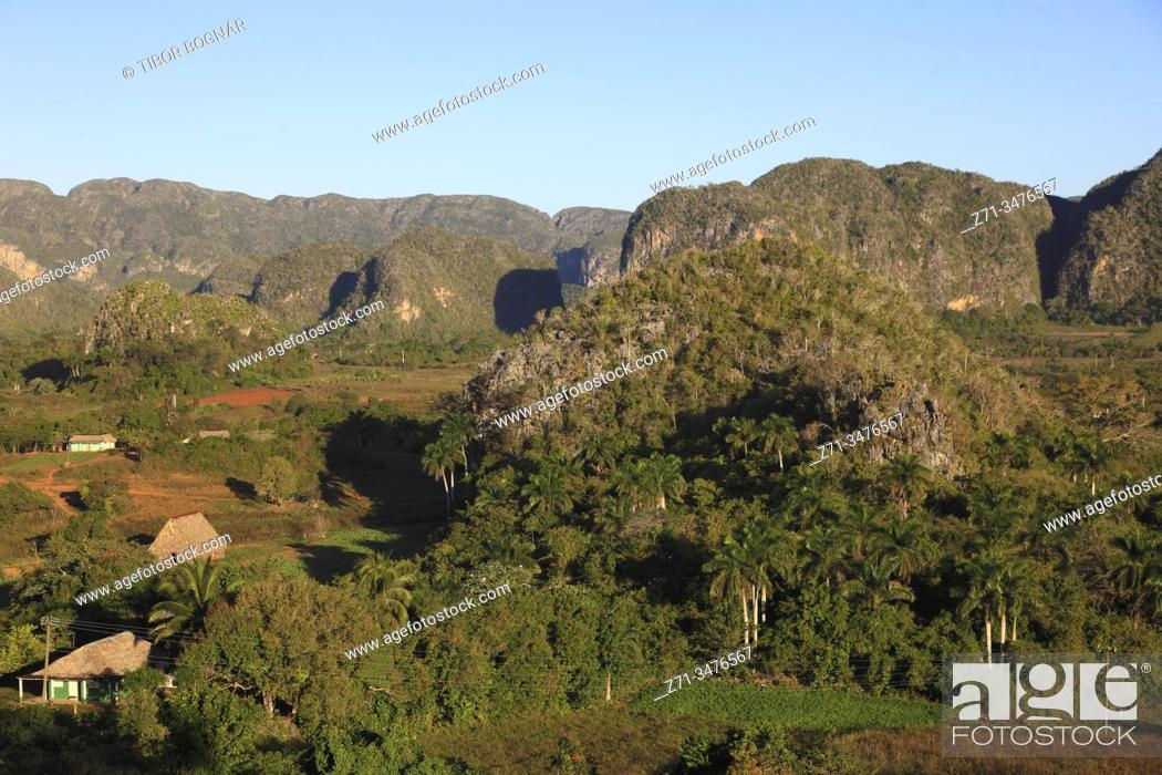 Stock Photo: Cuba, Vinales Valley, Valle de Vinales, mogotes, limestone cliffs, .