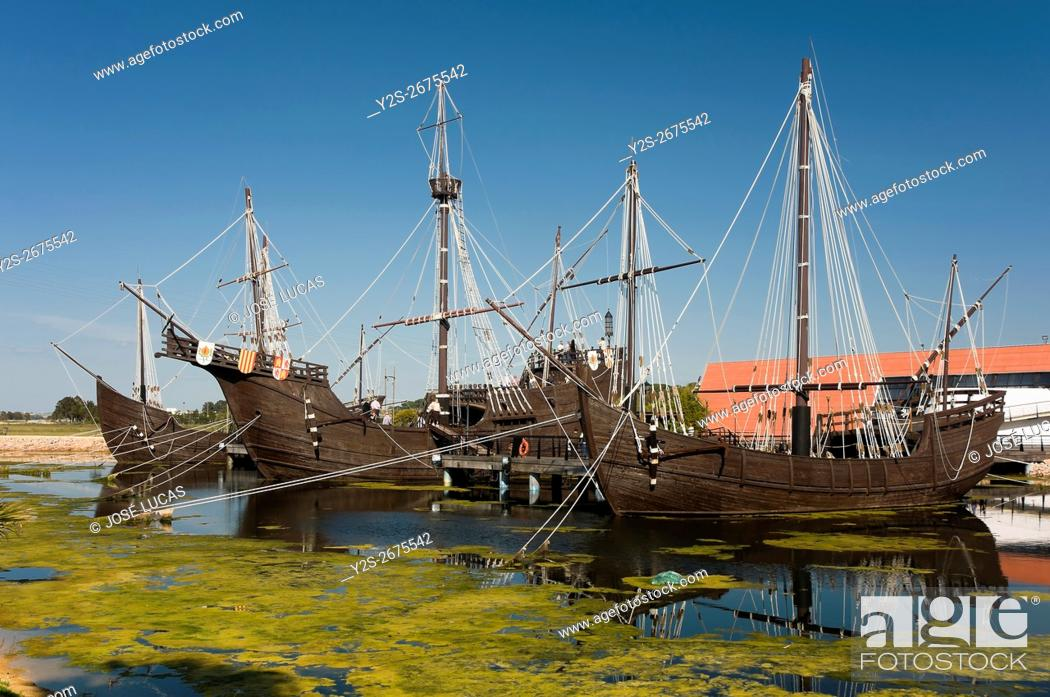 Stock Photo: The Wharf of the Caravels, Palos de la Frontera, Huelva province, Region of Andalusia, Spain, Europe.