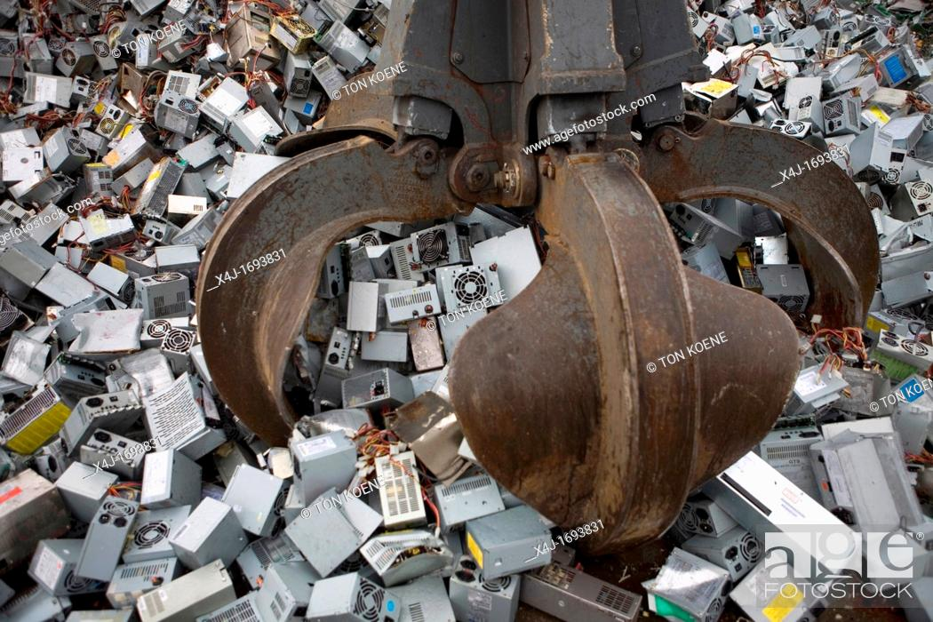 Stock Photo: Recycling of white goods such as fridges, computers and other domestic electronic devices All municipalities in The Netherlands are required to provide known.