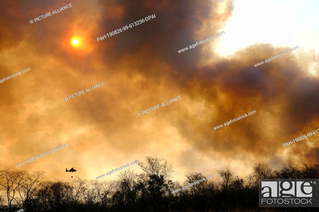 Stock Photo: 24 August 2019, Bolivia, Santa Cruz: A helicopter flies over Santa Cruz, where there are big forest fires. Numerous forest fires are currently raging in South.