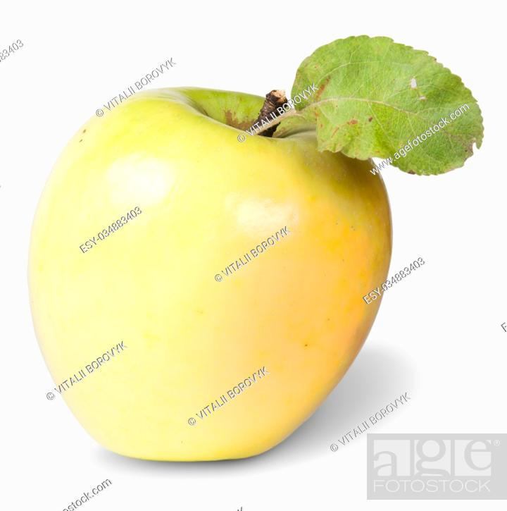 Stock Photo: Yellow Apple With Green Leaf Isolated On White Background.