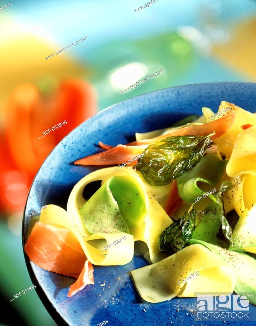 Stock Photo: pasta and Parma ham salad.