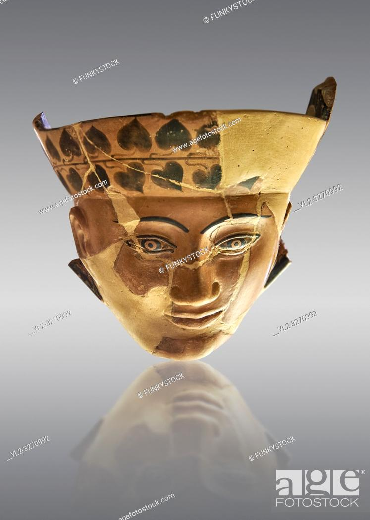 Stock Photo: An Etruscan Dinos ( style of vase) with a face, from the Group of Dinoi Campana Ribbon Painter, 540-520 B. C. inv 3784, National Archaeological Museum Florence.