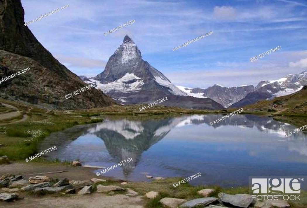 Stock Photo: Riffelsee - Matterhorn.