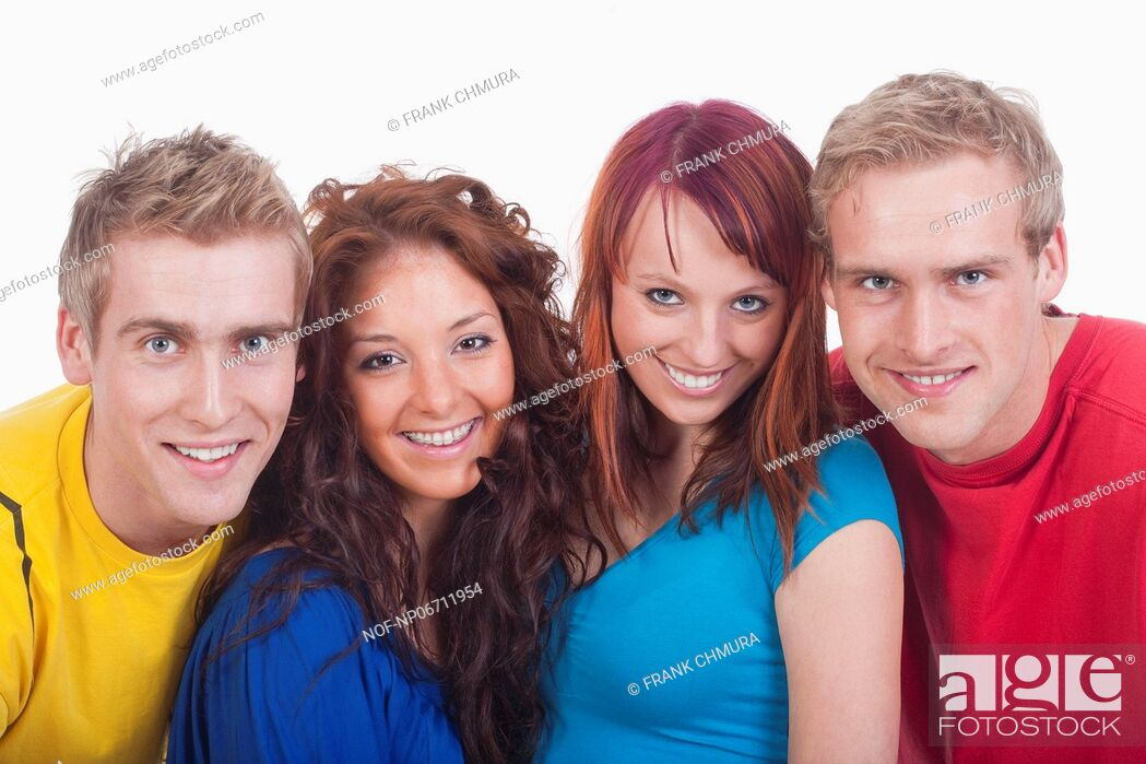 Stock Photo: portrait of a group of young happy people smiling - isolated on white.