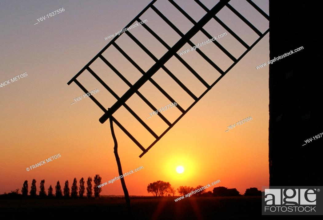 Stock Photo: Wing of a windmill in the Poitou region France.