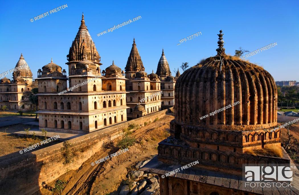 Stock Photo: Chhatris, Orchha, Madhya Pradesh, India.
