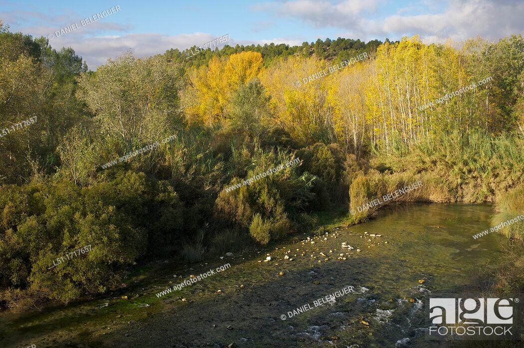 Stock Photo: Autumn landscape of the Cabriel river, Cuenca, Spain.