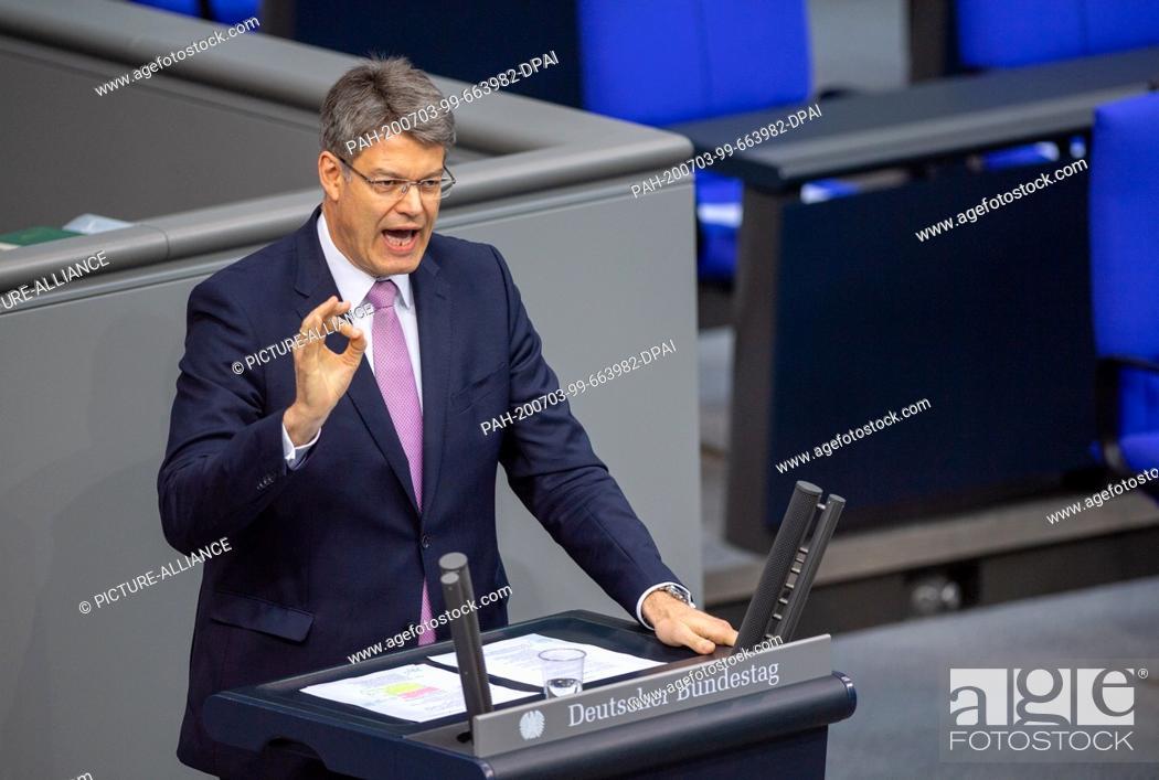 Stock Photo: 03 July 2020, Berlin: Patrick Schnieder (CDU) speaks in the plenary session of the German Bundestag. The main topics of the 171st session of the 19th.