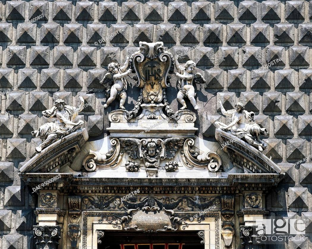 Stock Photo: Detail from the Baroque entrance, Church of Gesu Nuovo (16th century), Naples, Campania, Italy.