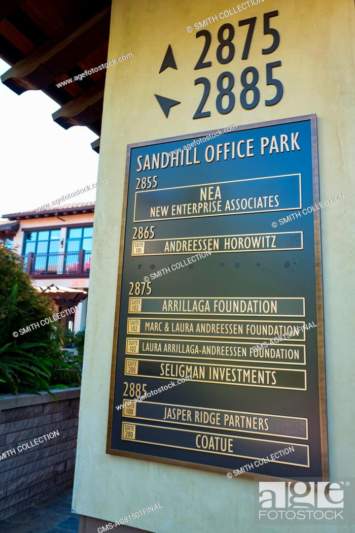 Signage for Sandhill Office Park, with listings for several