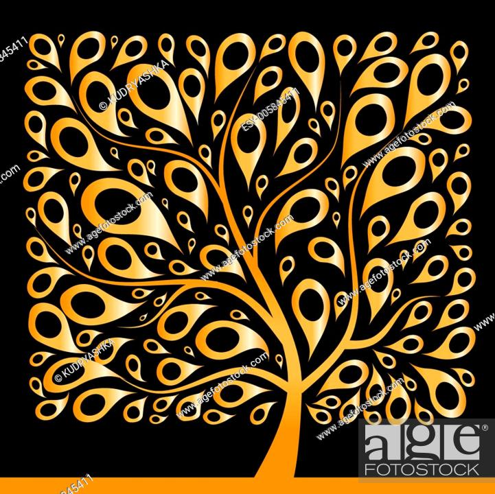 Stock Vector: Golden tree beautiful, square shape.