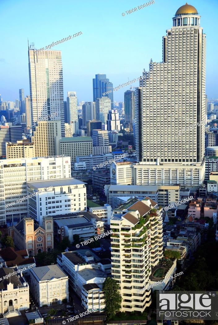 Stock Photo: Bangkok skyline, general aerial view, Thailand.
