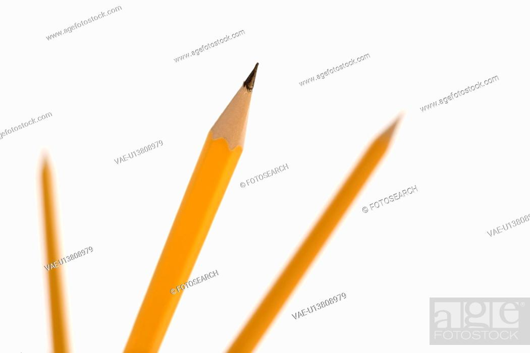 Stock Photo: Three pencils pointing in air with selective focus.