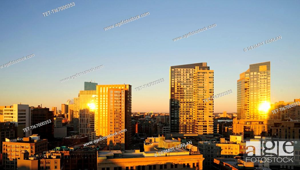 Stock Photo: Downtown district at sunrise.
