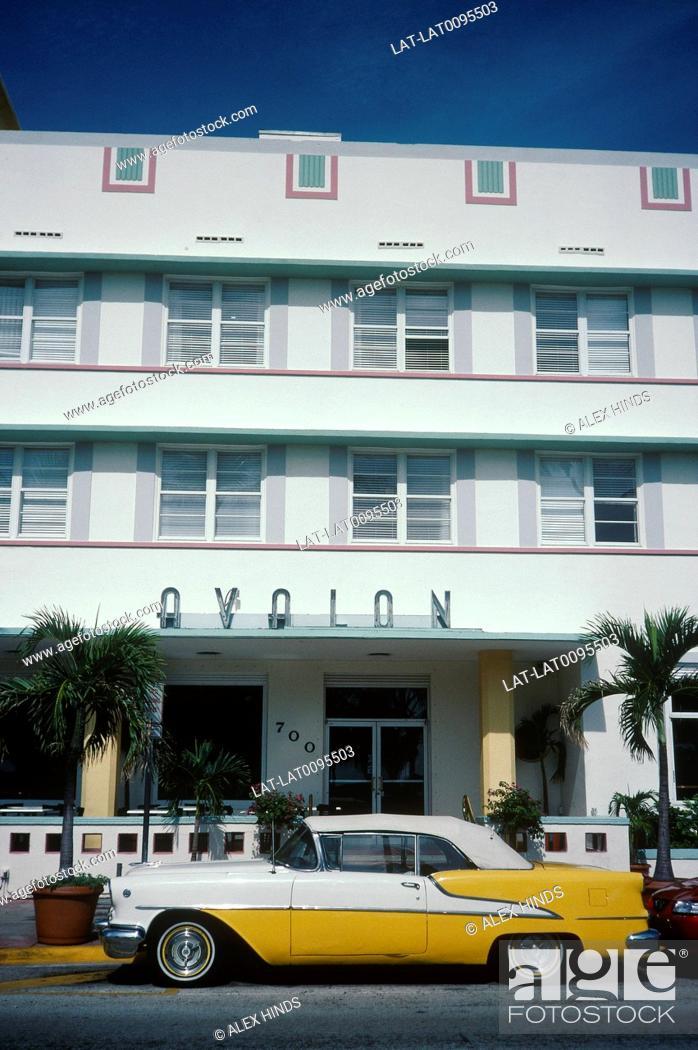 Stock Photo: Ocean Drive. Avalon building. Art Deco style. Yellow taxi cab.