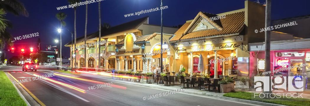 Stock Photo: Night on West Venice Avenue in downtown Venice Florida in the United States.