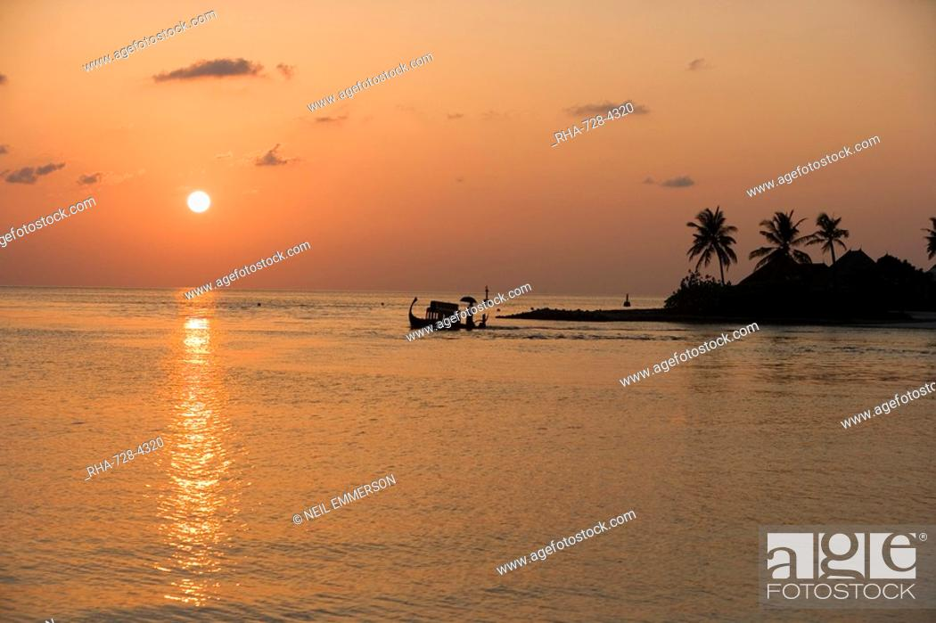 Stock Photo: Sunset, Maldives, Indian Ocean, Asia.