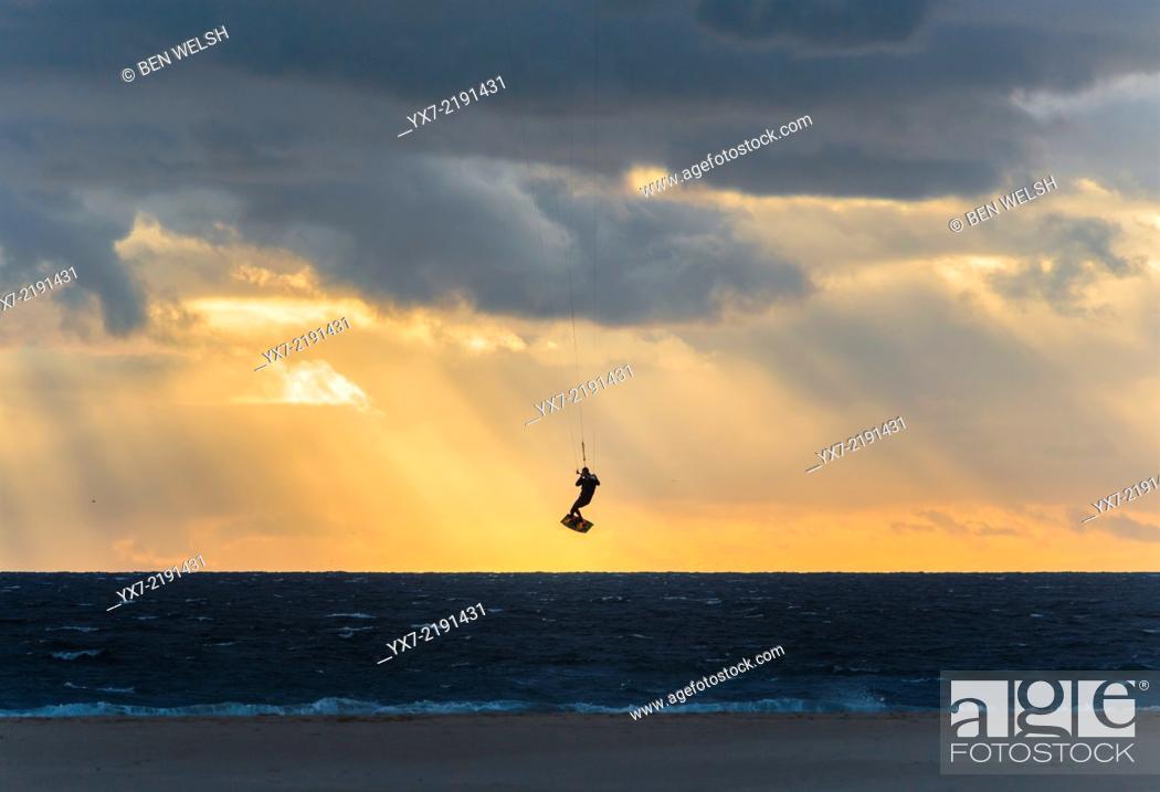 Stock Photo: Kitesurfing in Tarifa, Costa de la Luz, Cadiz, Andalusia, Southern Spain, Europe.