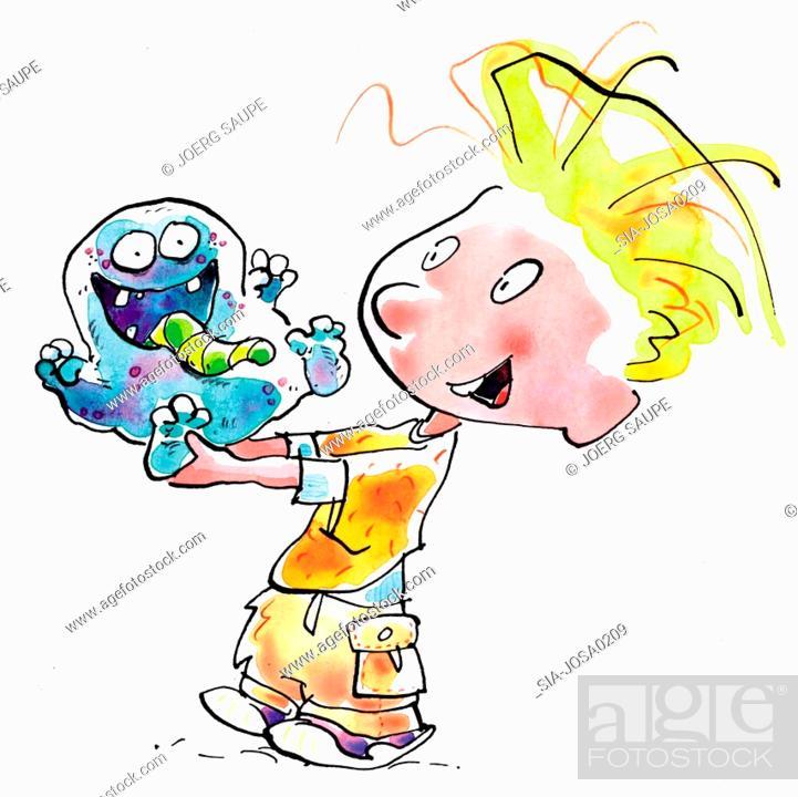 Imagen: Boy holding monster.