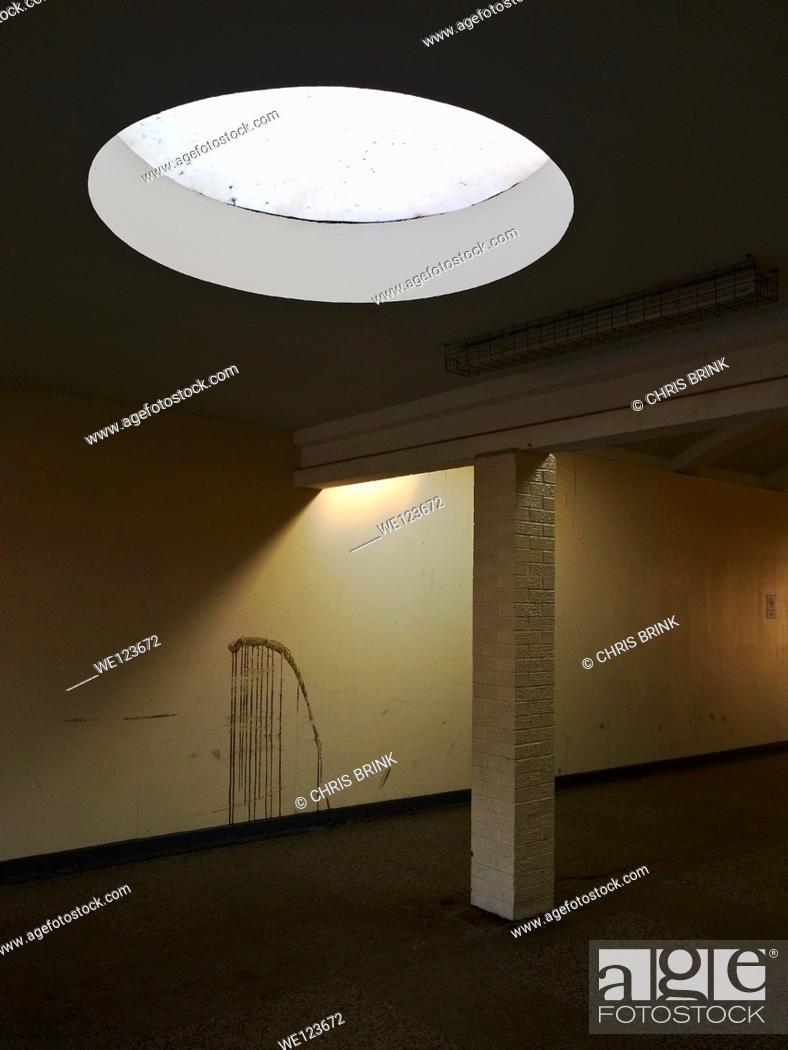 Stock Photo: Detail of depressing corridor to a shopping arcade, UK.