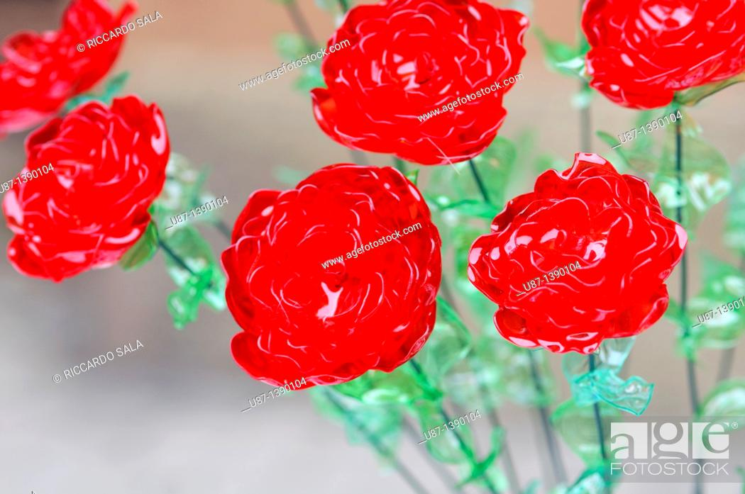 Photo de stock: Flowers Made From Plastic Bottles Recycled Platic.