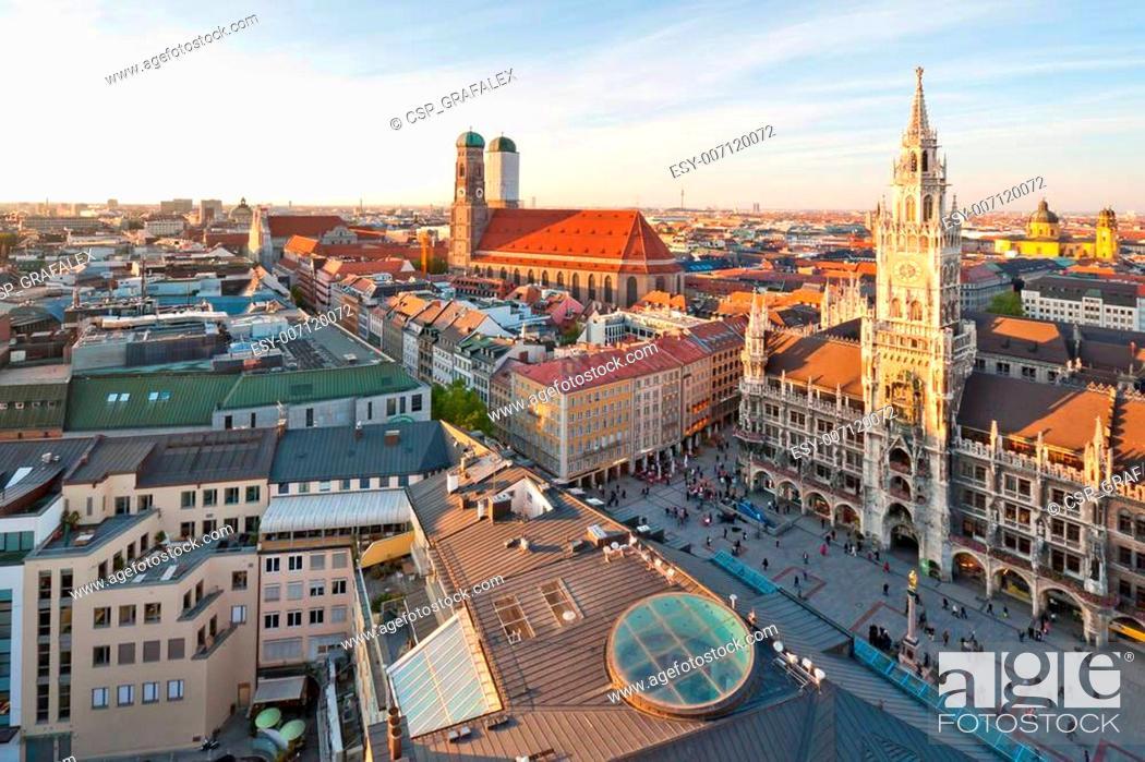 Stock Photo: Panoramic view at the Marienplatz and the Frauenkirche, Munich, Germany.