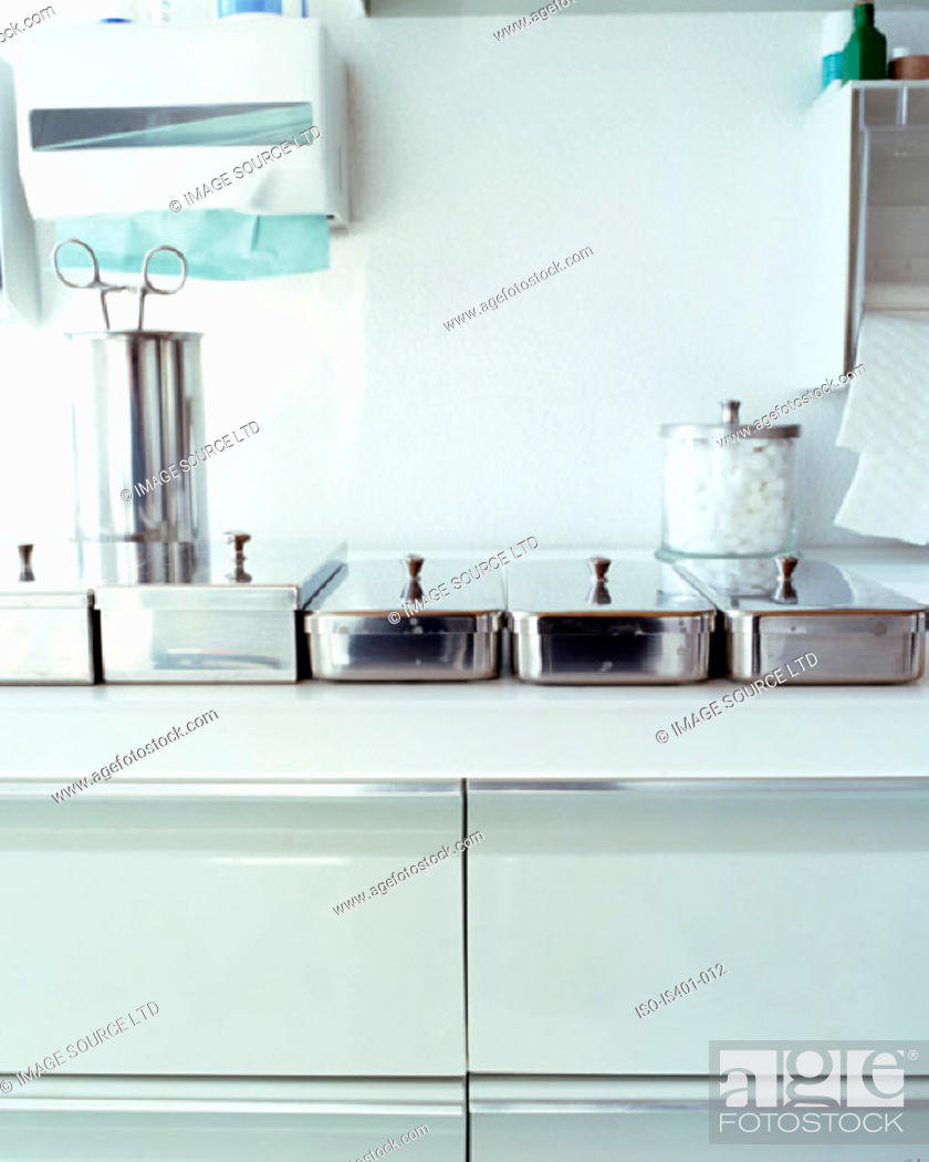 Stock Photo: Medical equipment on sideboard.