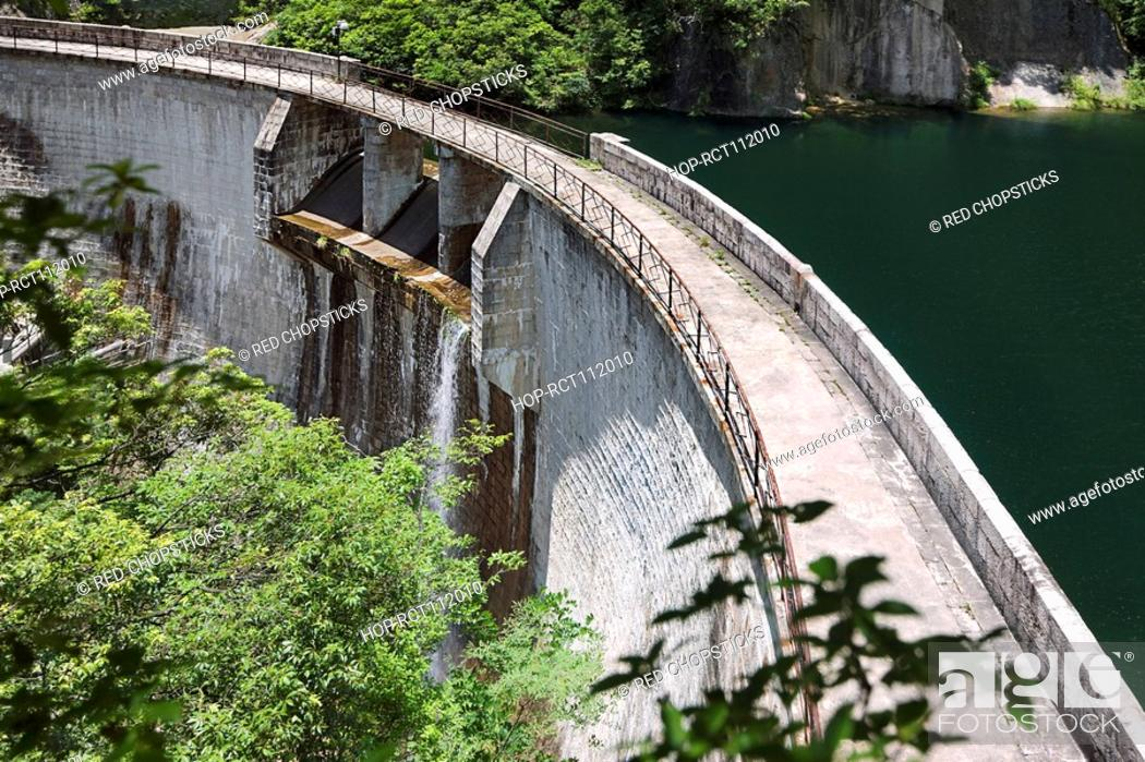 Stock Photo: High angle view of a dam, Huangshan Mountains, Anhui Province, China.