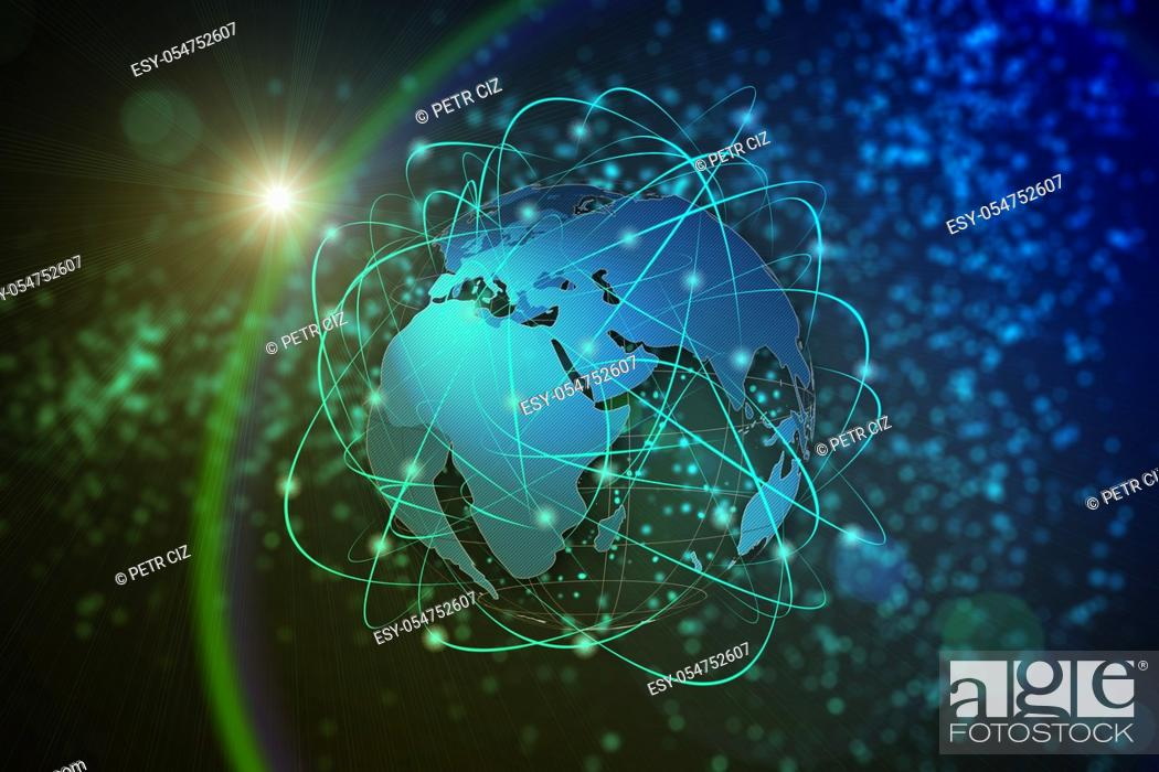 Stock Photo: Technology abstract background, concept of global communication.