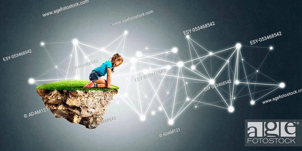 Stock Photo: Cute kid girl sitting on floating island and social connection concept.