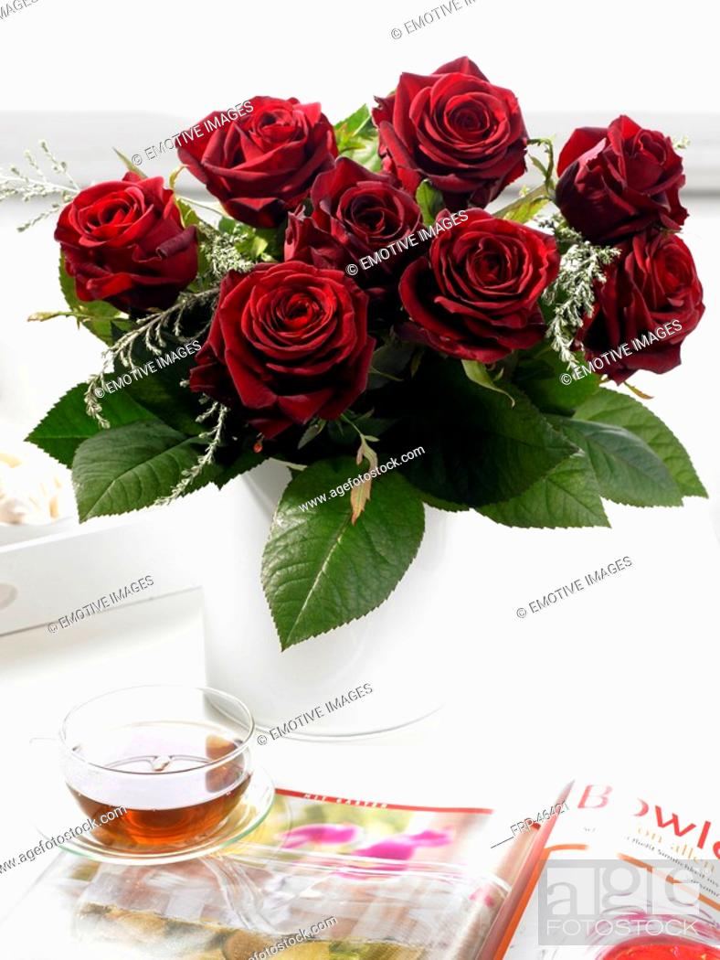 Stock Photo: Bouquets of dark red roses.
