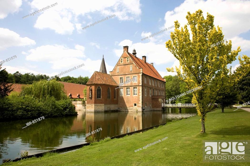 Stock Photo: House of Lords, built 1540-1545, Wasserburg Huelshoff, the poet Annette von Huelshoff was born here, Havixbeck, Muensterland, North Rhine-Westphalia, Germany.