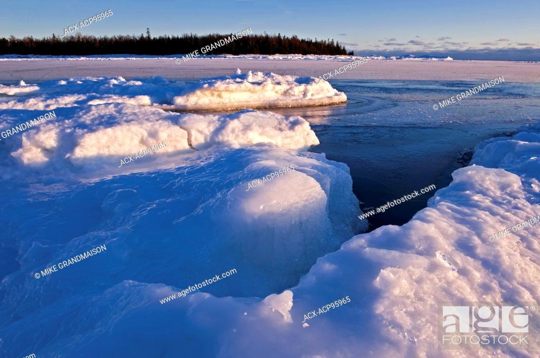 Stock Photo: Ice on shore of Lake Huron. South Baymouth. Manitoulin Island Ontario Canada.