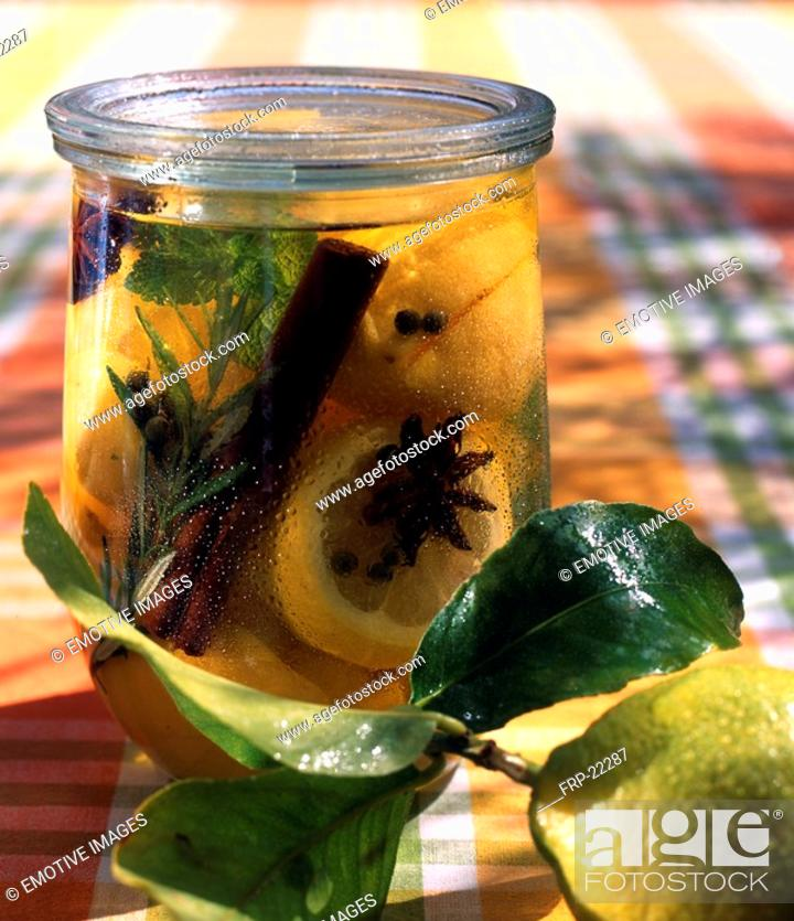 Stock Photo: Lemon slices preserved with spices.