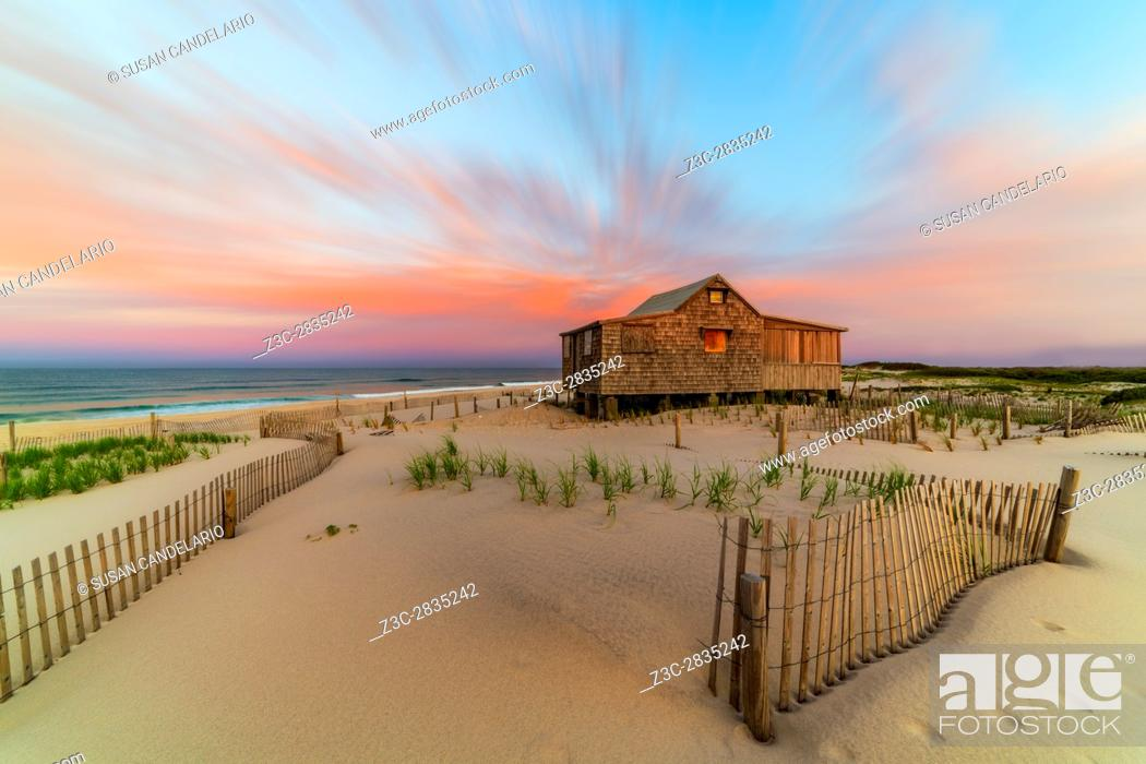 Stock Photo: Judges Shack NJ Shore - The Judge's Shack at Island Beach State Park (IBSP) at the New Jersey shore. This original fishing shack is believed to have been built.