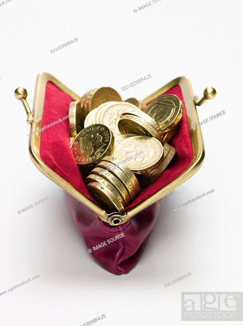 Stock Photo: Pound coins in a purse.