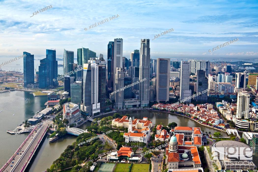Stock Photo: Downtown skyline, Singapore.