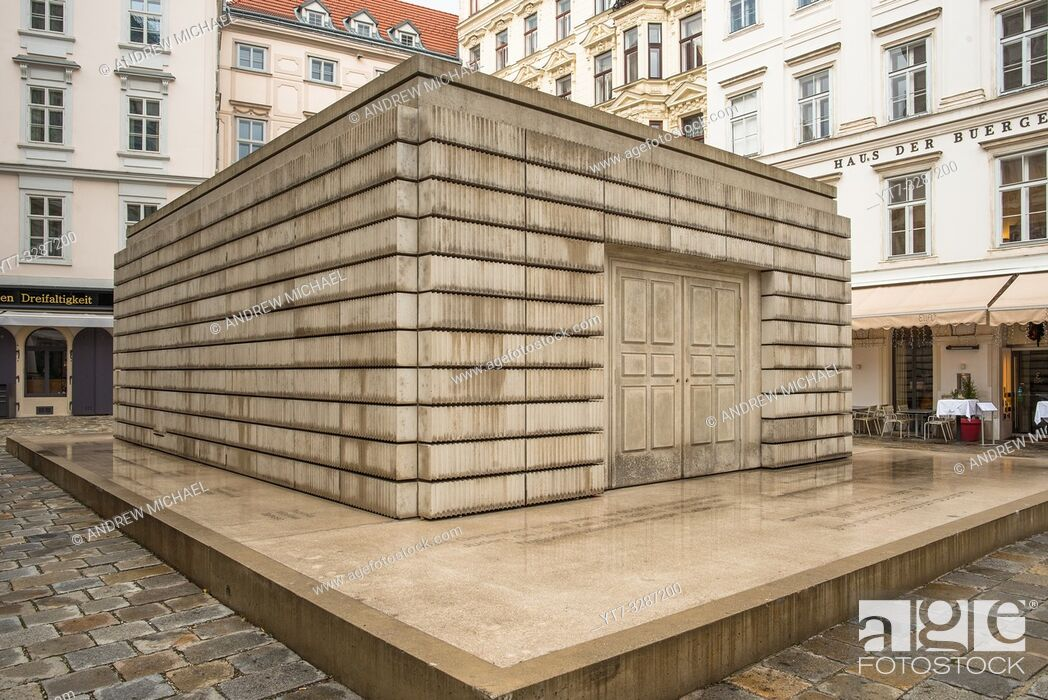 Stock Photo: Judenplatz Holocaust Memorial, also known as The Nameless Library, in the Judenplatz square in Vienna, Austria.